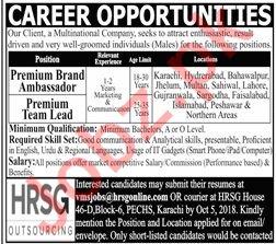 HRSG Outsourcing Pvt Limited Premium Brand Ambassador Jobs