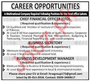 Chief Financial Officer, Secretary, Manager Jobs 2018