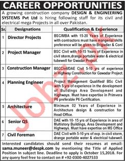 Director Projects For Design And Engineering Systems Pvt Ltd 2020 Job Advertisement Pakistan