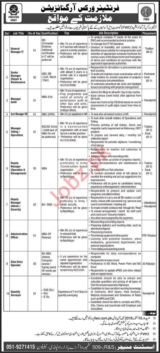 FWO Rawalpindi Jobs for Manager IT & Manager Audit