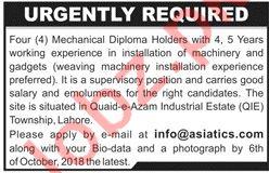 Asiatics Group Mechanical Staff Jobs