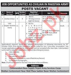 Supply Depot Army Services Corps Multan Jobs 2018