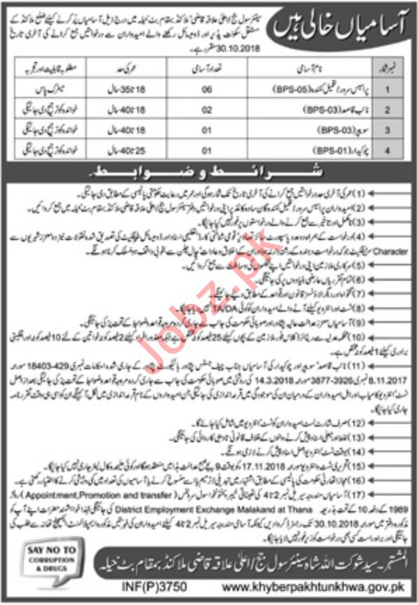 Civil Court Malakand Jobs for Process Server & Naib Qasid