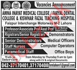 Amna Inayat Medical College Professor Jobs