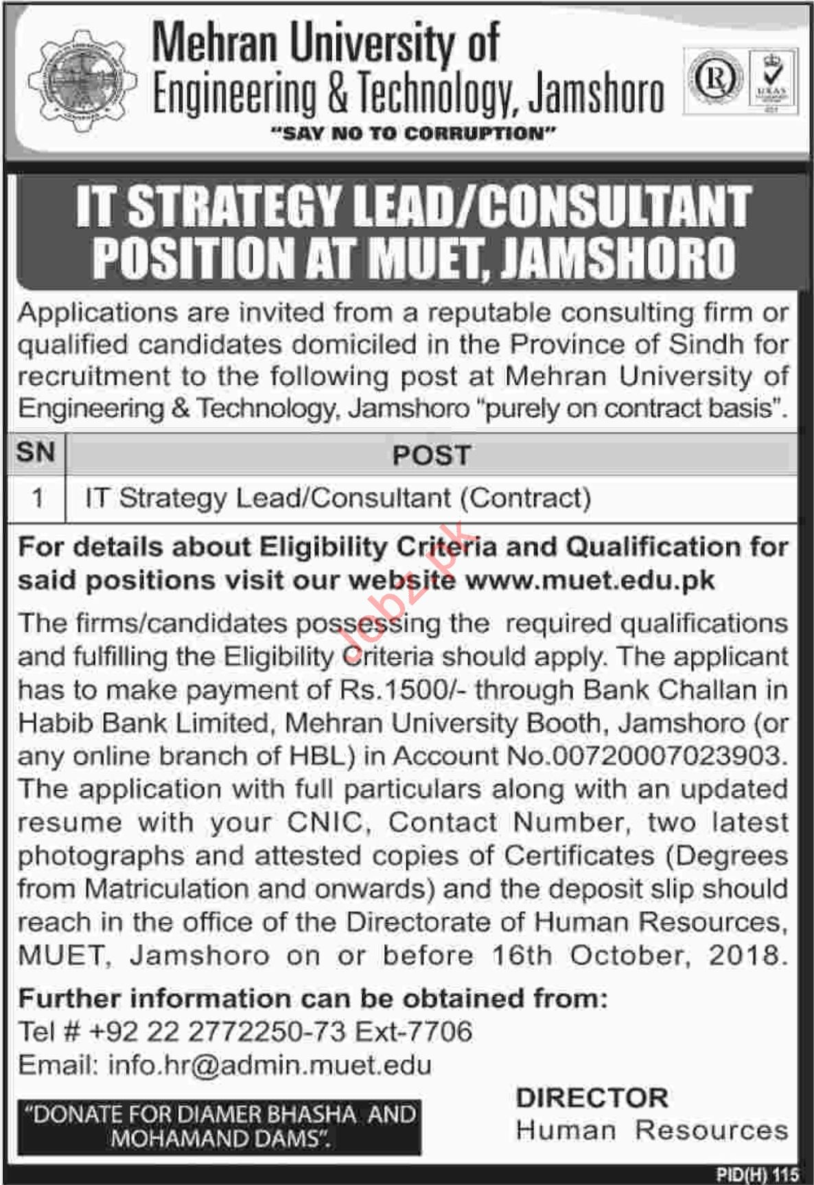 Mehran University of Engineering & Technology Jamshoro Jobs