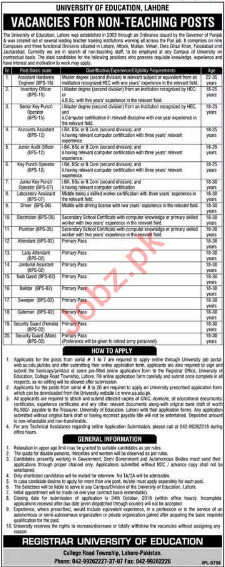 University of Education Lahore Jobs for Engineers & Auditor