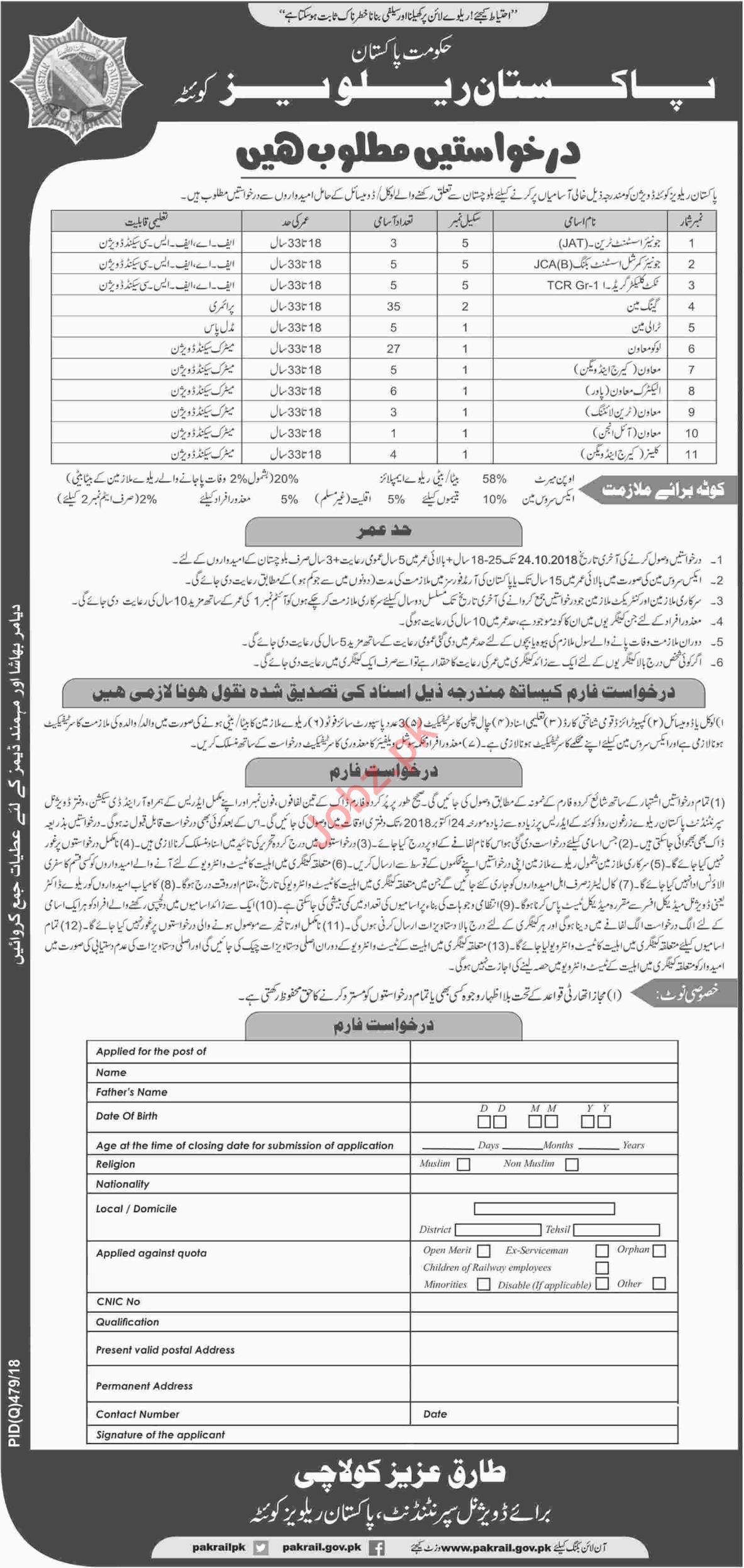 Pakistan Railways Jobs 2018 For Quetta Balochistan