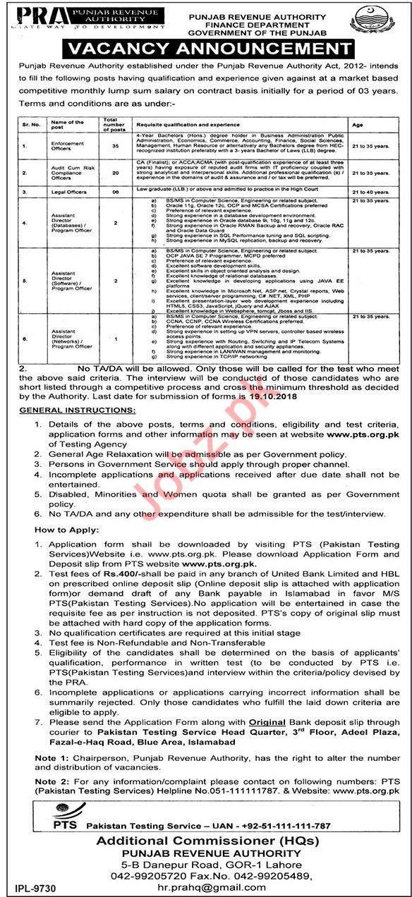 Punjab Revenue Authority PRA Jobs 2018 Via PTS