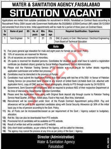 WASA Faisalabad Jobs 2018 for Sub Engineer
