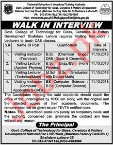 Govt College of Technology Lahore Jobs for Instructors