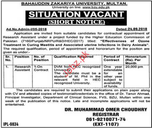 Research Assistant Jobs in Bahauddin Zakriya University BZU