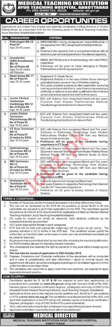 MTI Ayub Teaching Hospital Abbottabad KPK Jobs 2018 via NTS
