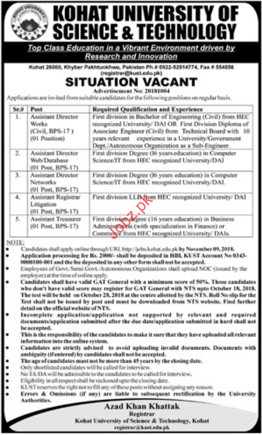 Assistant Director Works Jobs in Kohat University of Science