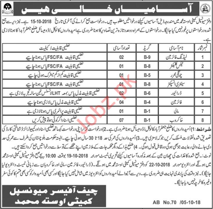 Municipal Committee Jobs 2018 in Quetta