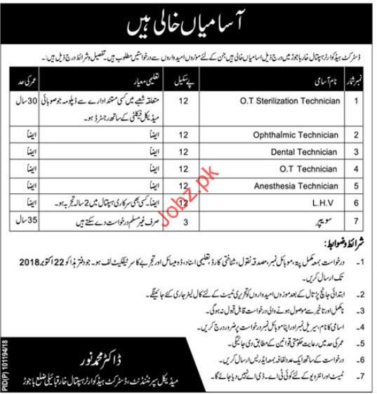 OT Technician Jobs in District Headquarter Hospital