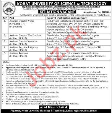 Kohat University of Science & Technology Jobs 2018 via NTS