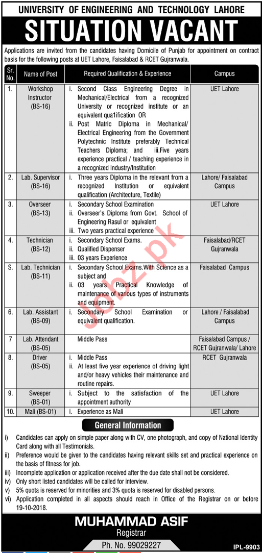 University of Engineering And Technology Lahore Jobs 2018