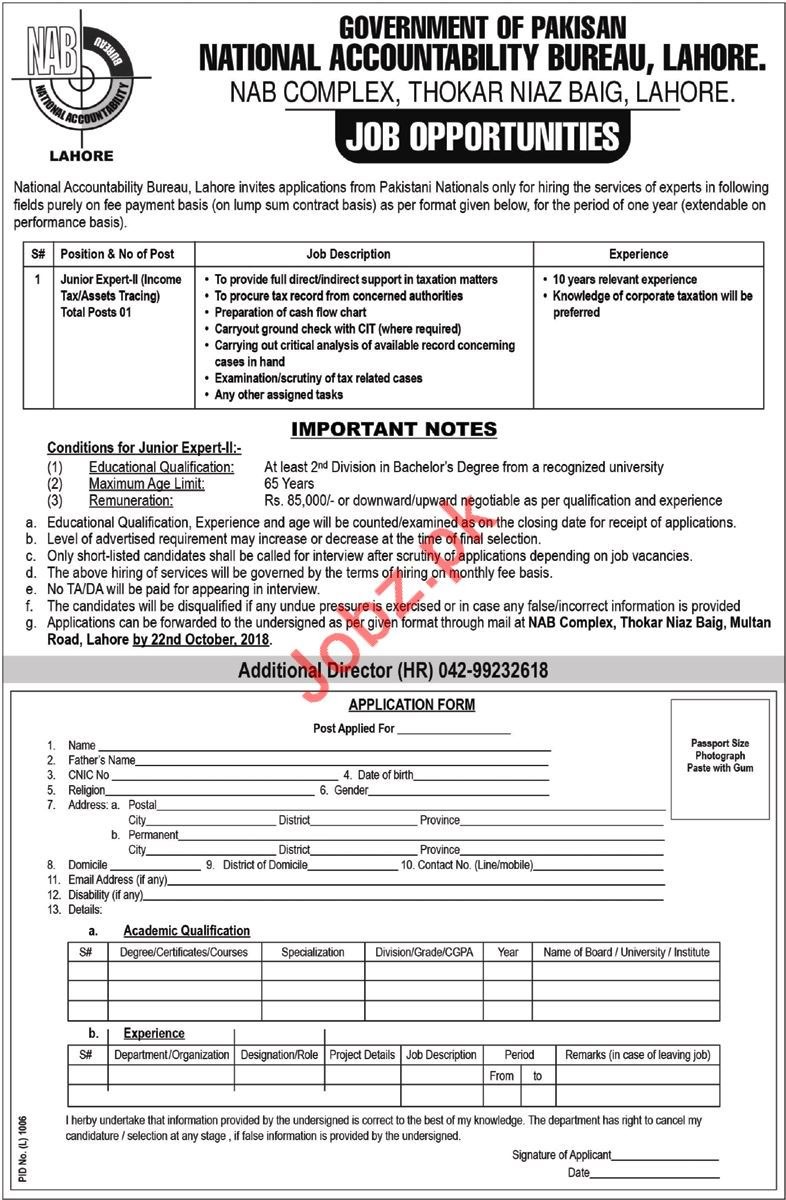 National Accountability Bureau NAB Junior Expert-II Job 2018