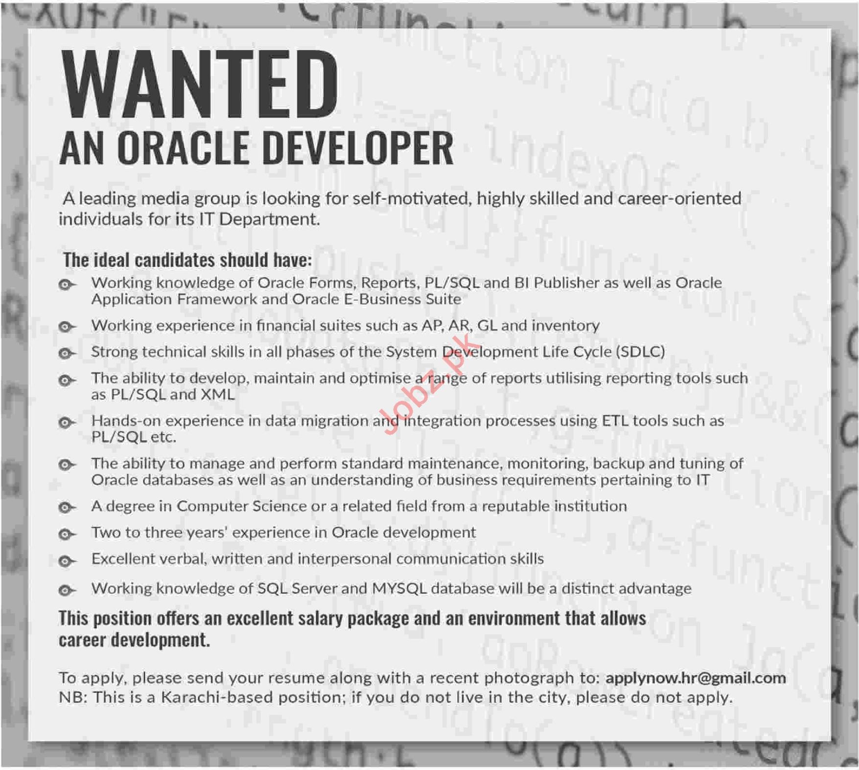Oracle Developer for Media Group