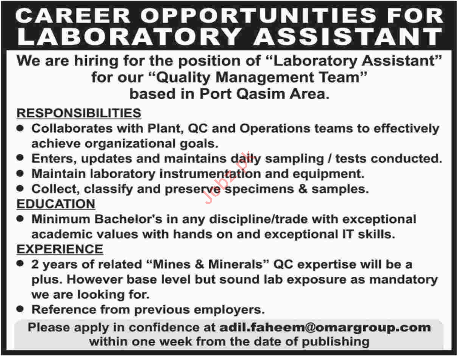 Omar Group of Companies Laboratory Assistant Jobs