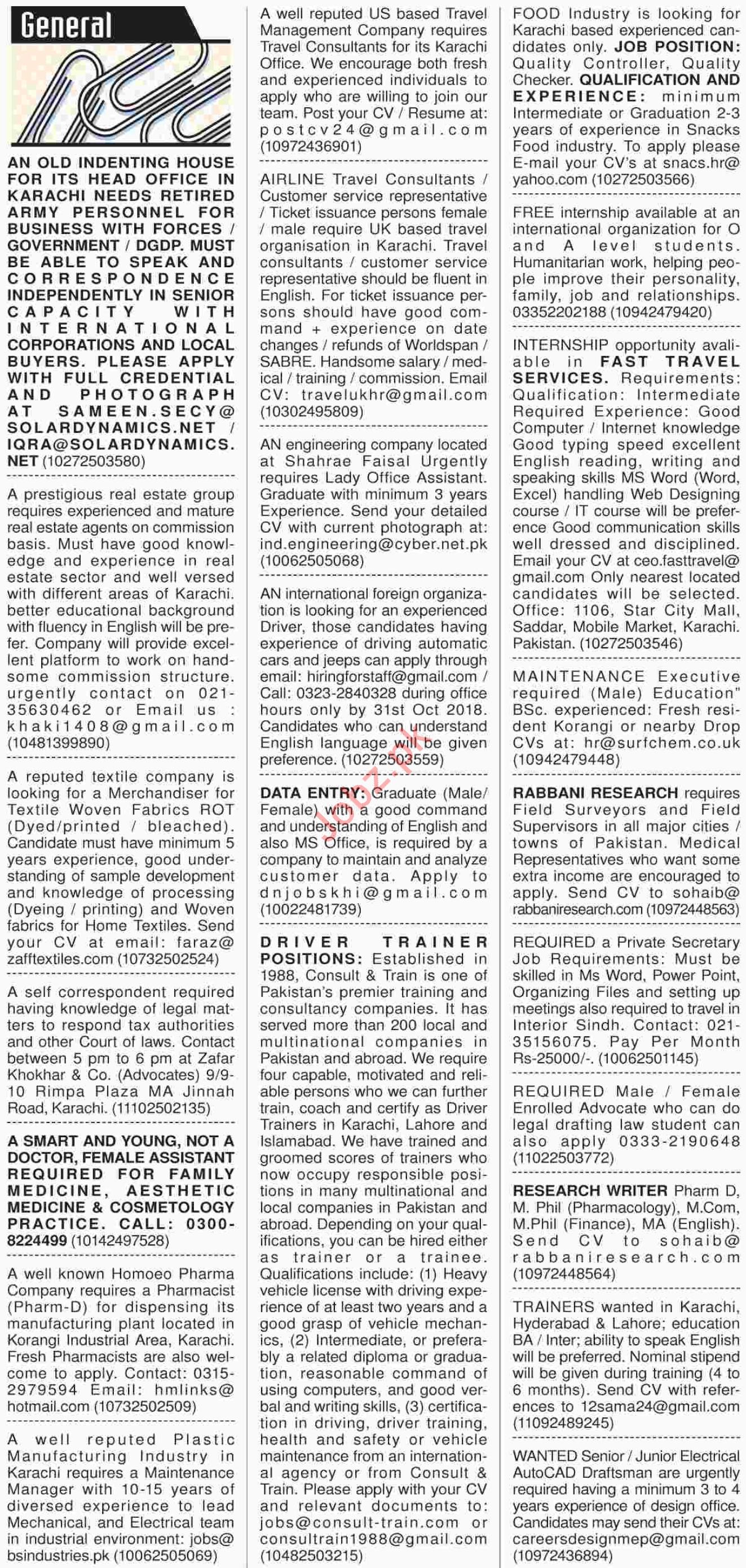 Dawn Sunday General Classified Ads 7/10/2018