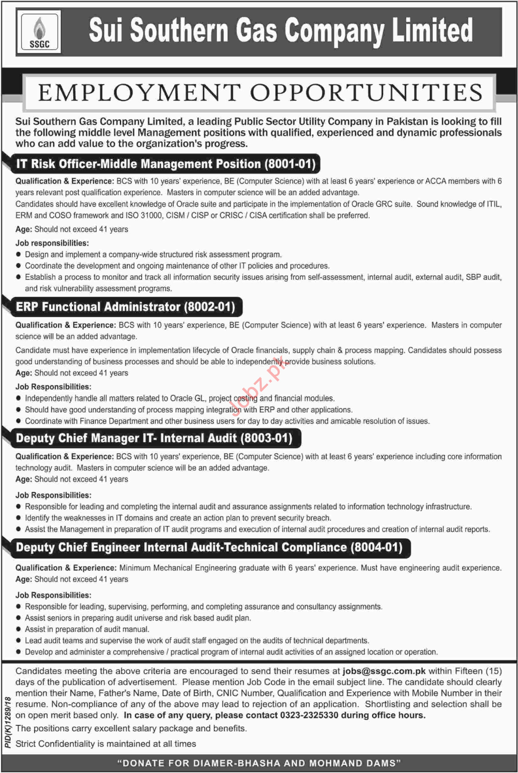 Sui Southern Gas Company Ltd IT Risk Officer Jobs