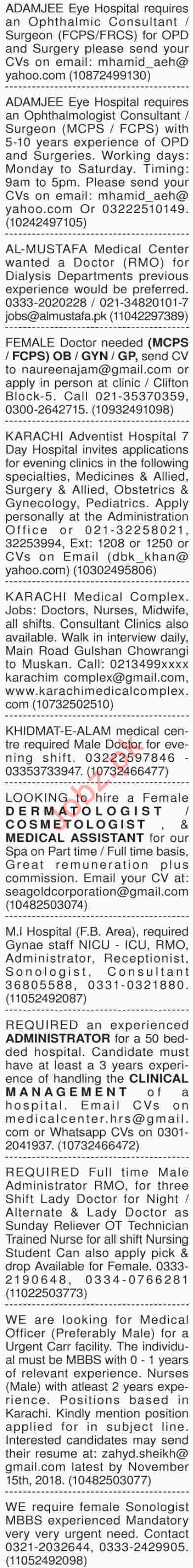 Dawn Sunday Medical Classified Ads 7/10/2018