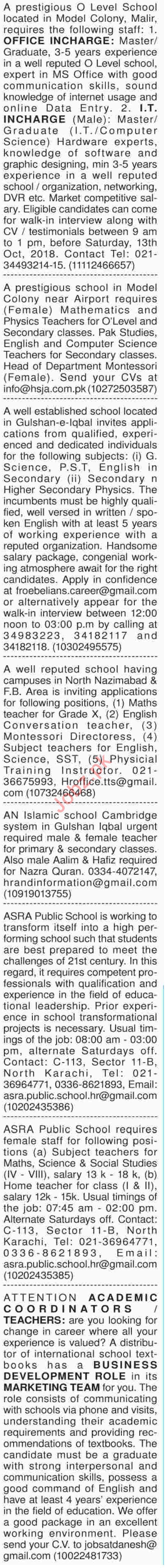 Dawn Sunday Teachers Classified Ads 7/10/2018