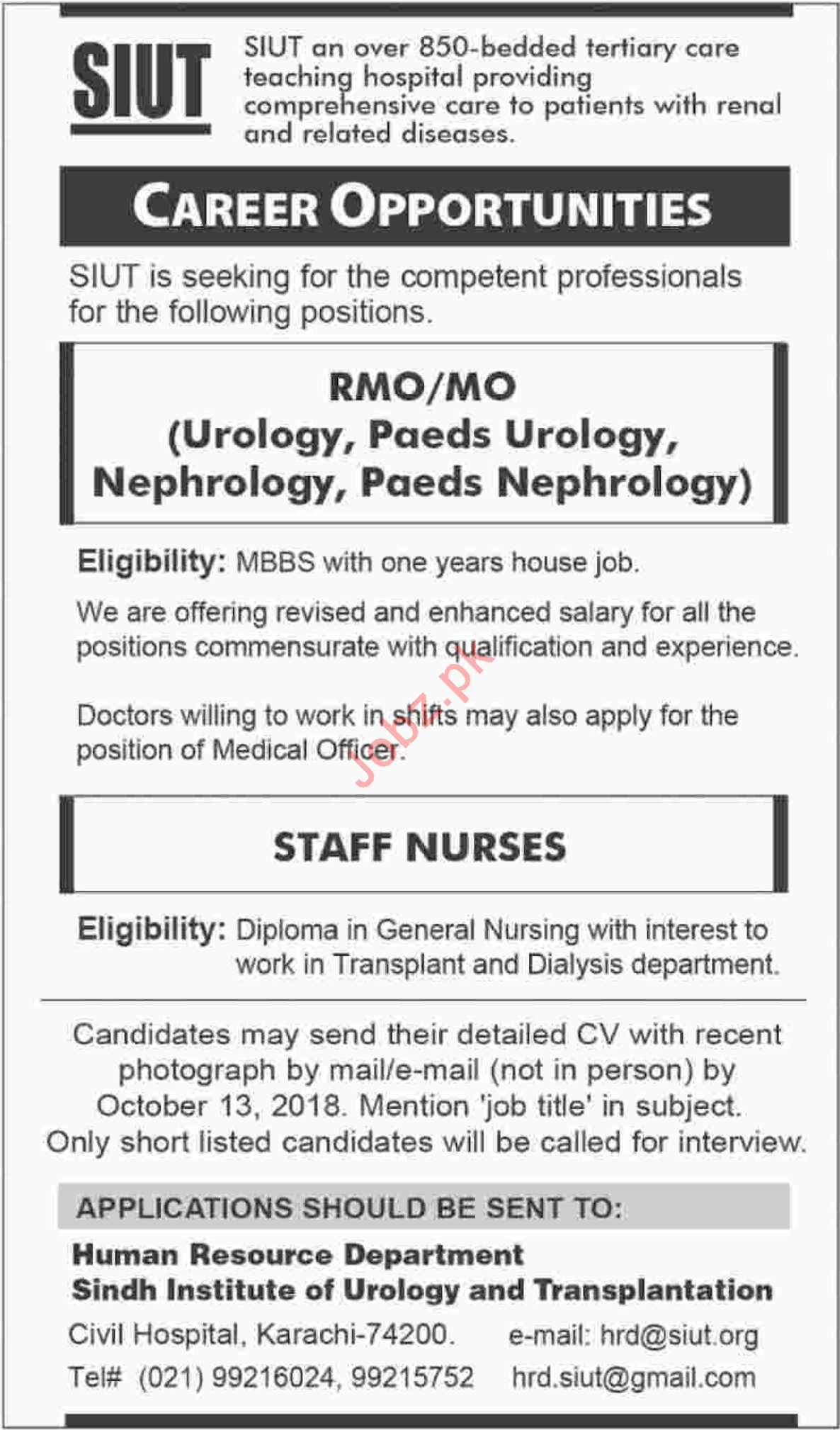 SIUT Staff Nurses Job Opportunities