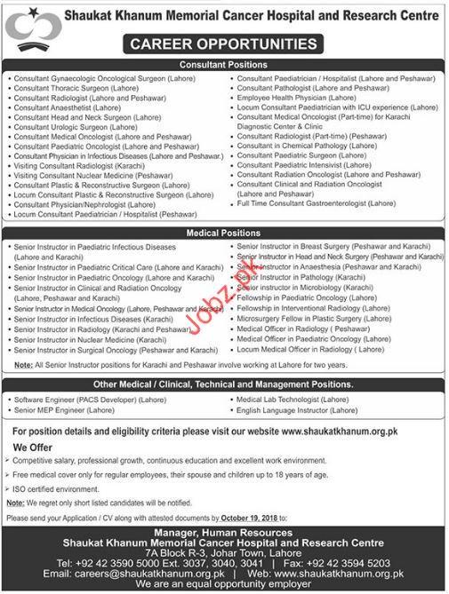 Medical consultant Jobs in Shaukat Khanum Memorial