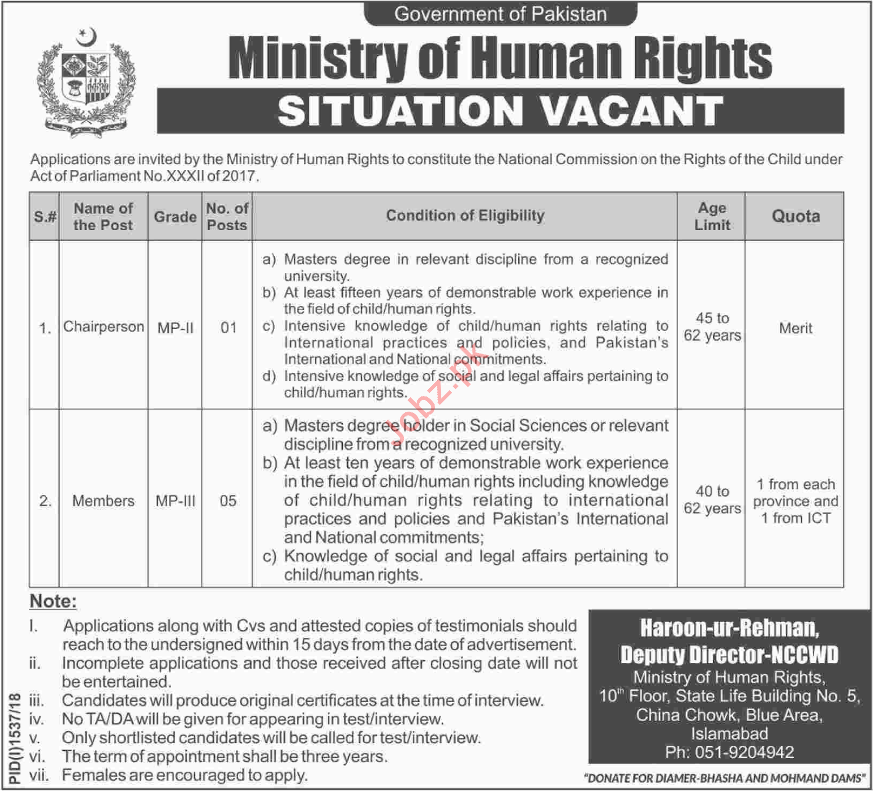 Ministry of Human Rights Chairperson Jobs