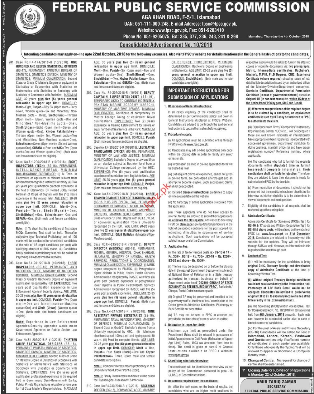 Federal Public Service Commission Statistical Officer Jobs