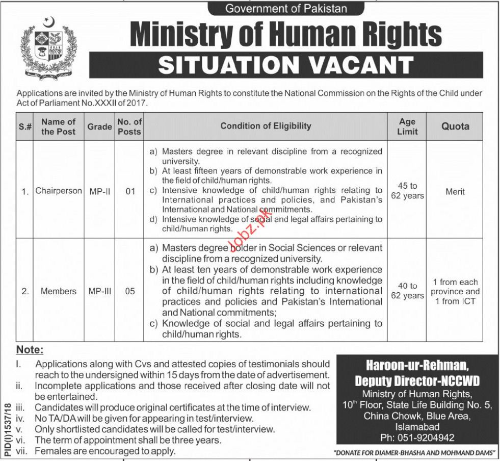 Ministry of Human Rights Chairperson Jobs 2018