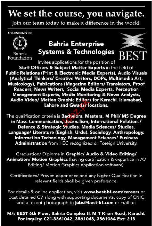 Bahria Foundation Subject Matter Expert Jobs 2018