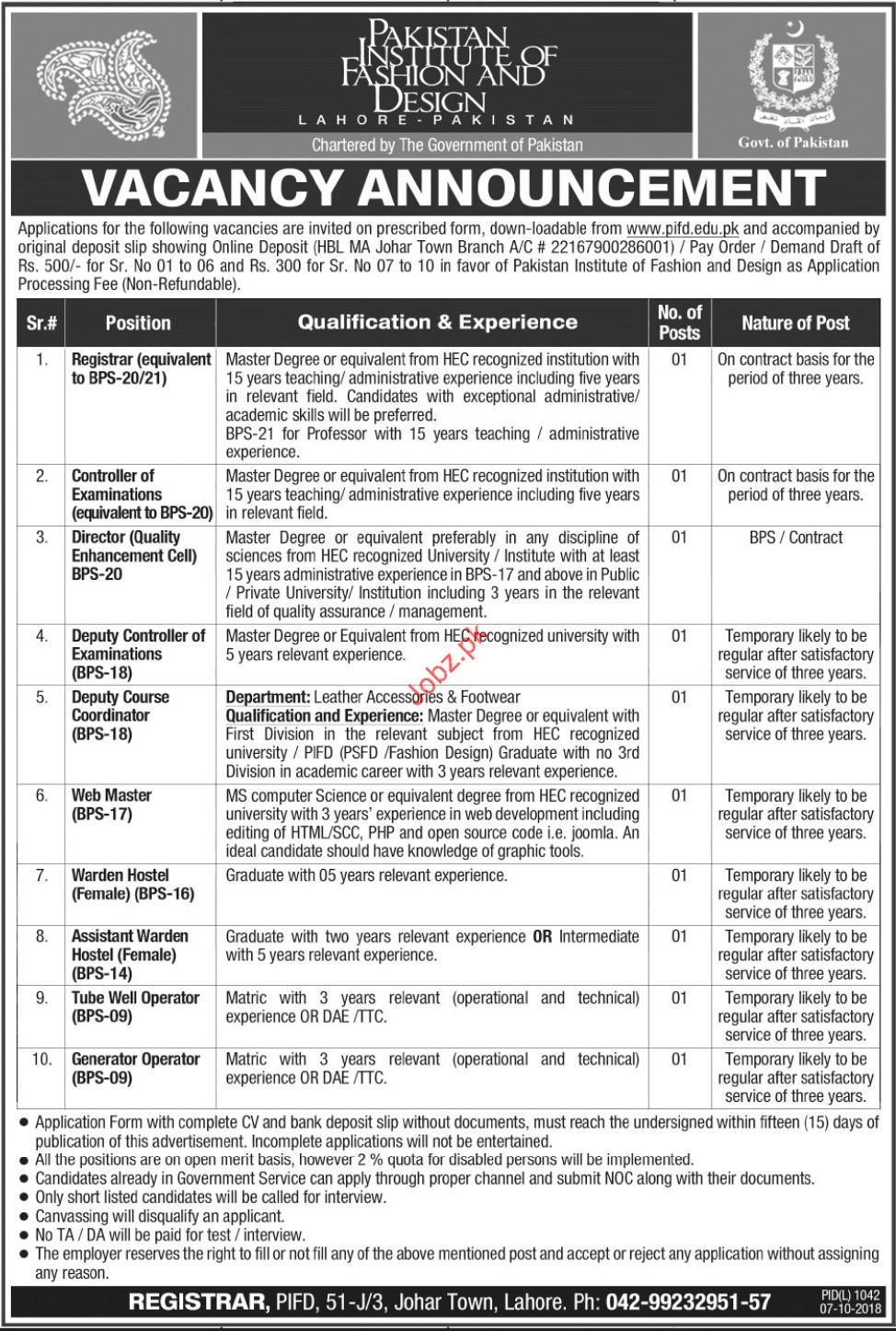 Registrar Jobs In Pakistan Institute Of Fashion Design 2020 Job Advertisement Pakistan