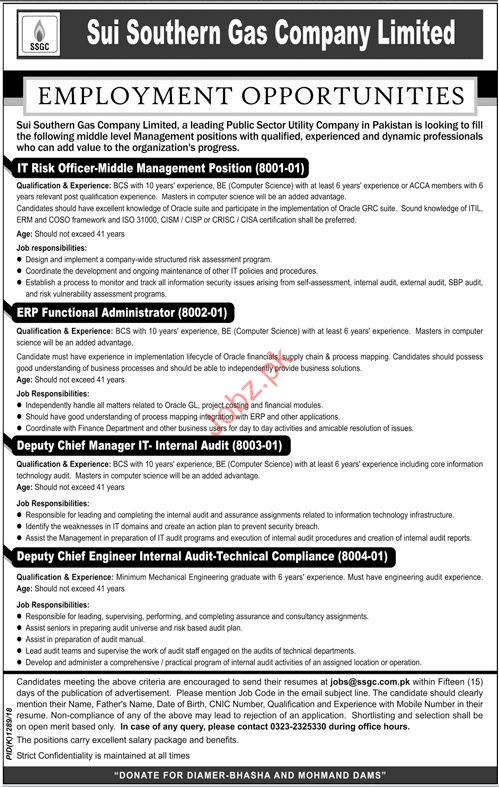 Sui Northeren Gas Company Limited  IT Risk Officer Jos 2018