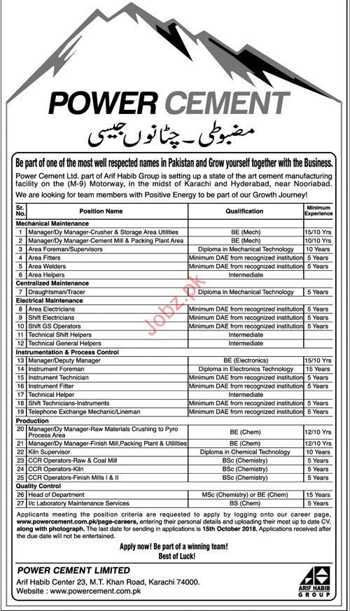 Manager Mechanical & Maintenance Jobs in Power Cement Ltd