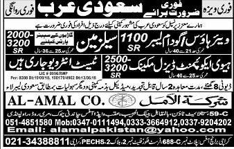 Salesmen, Mechanic, Labor Job Opportunity