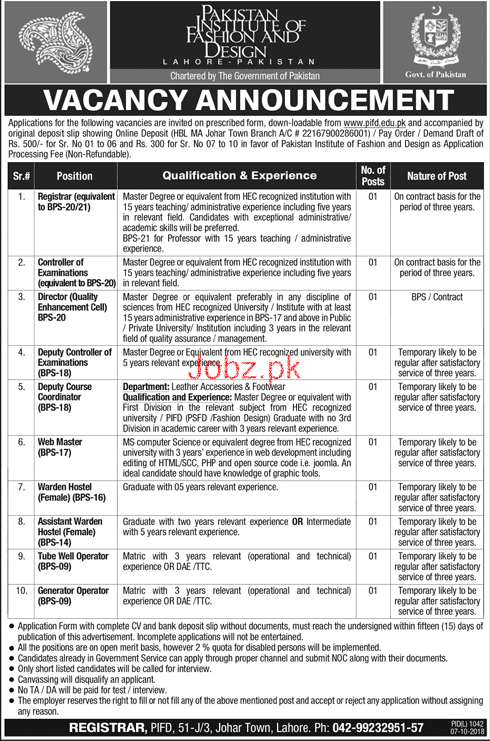 Pakistan Institute Of Fashion And Design Pifd Jobs 2020 Job Advertisement Pakistan