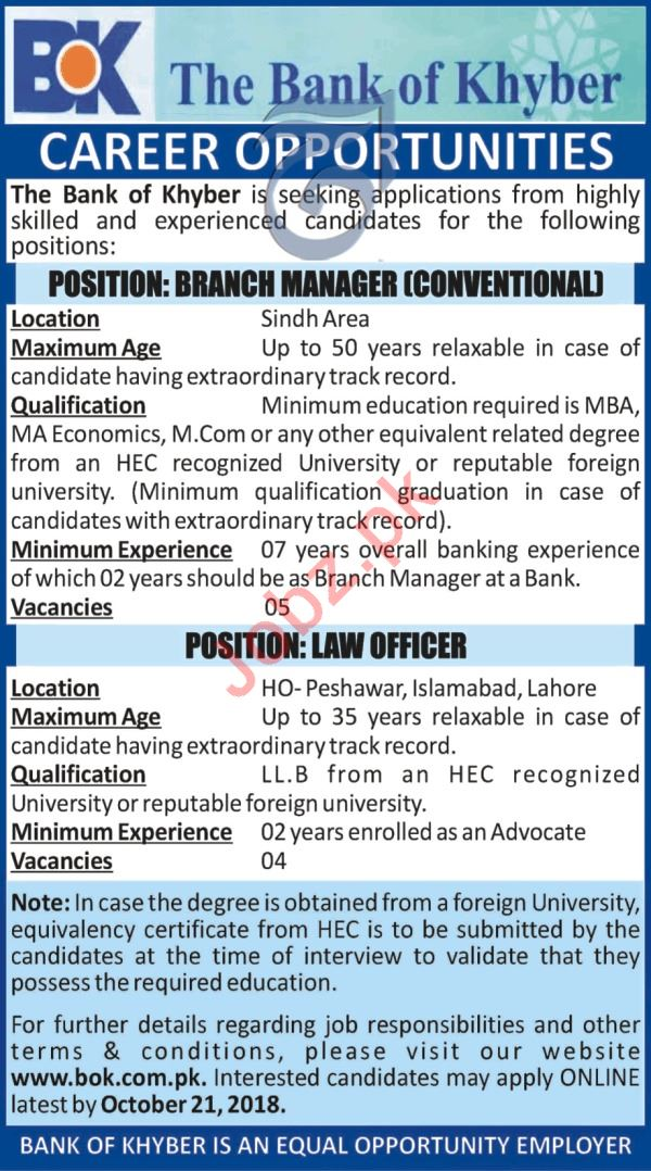The Bank of Khyber Jobs for Law Officer & Branch Manager