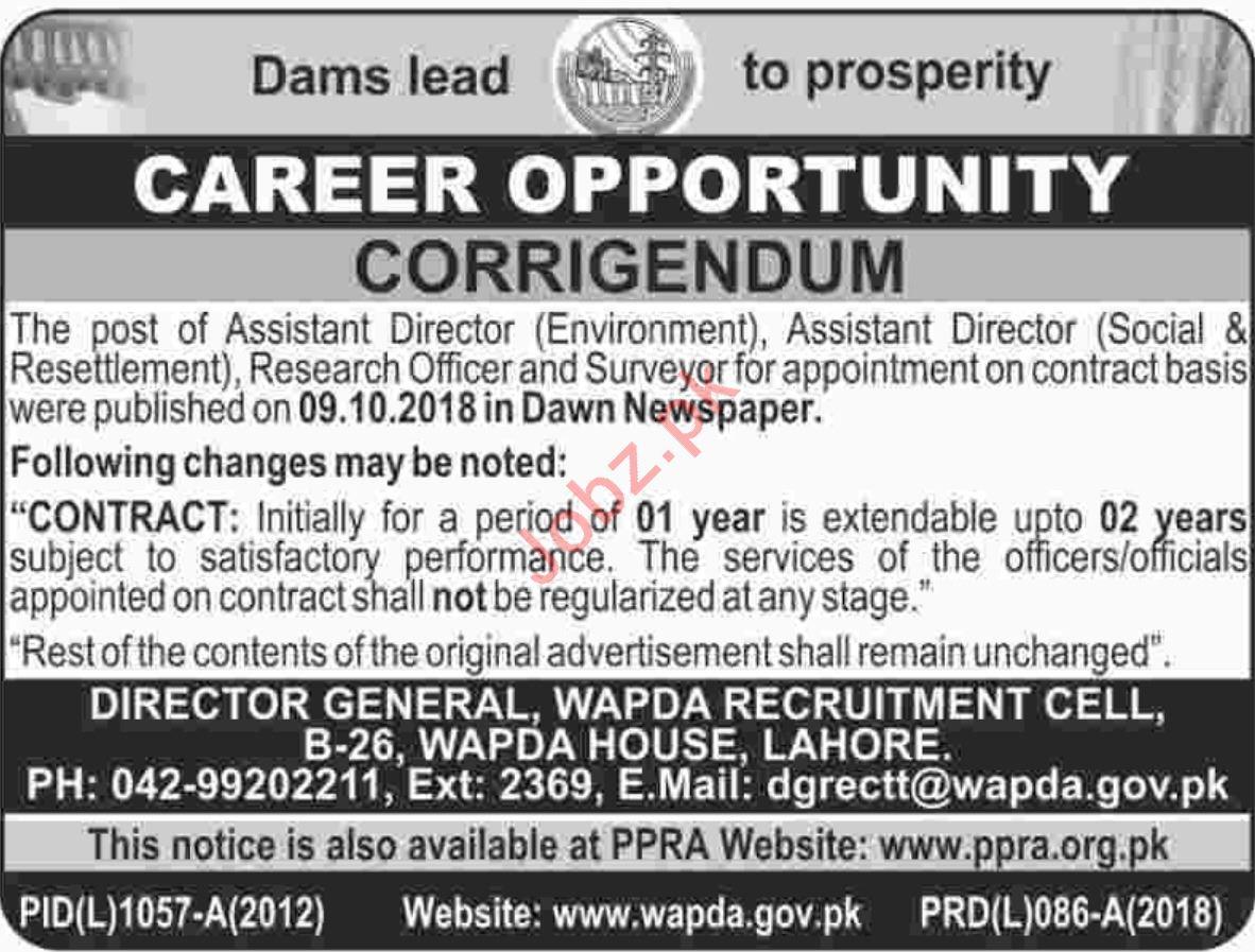 WAPDA Peshawar Jobs 2018 for Assistant Director & Surveyor