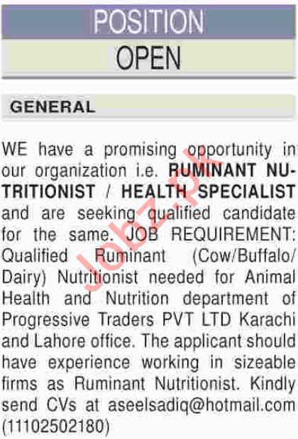 Ruminant Nutritionist Jobs 2018 in Karachi