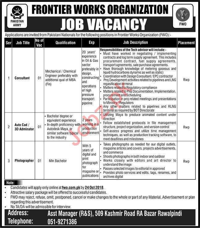 Pakistan Army Frontier Works Organization FWO Jobs 2018