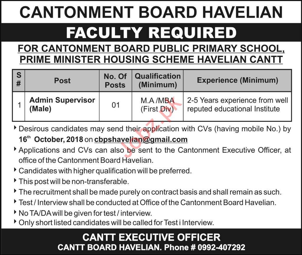 Cantonment Board Public Primary School Faculty Job 2018