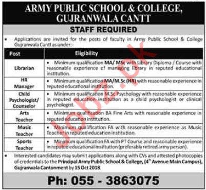 Army Public School & College Gujranwala Cantt Jobs 2018