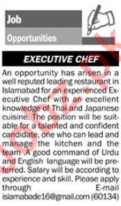 Executive Chef Jobs 2018 in Islamabad