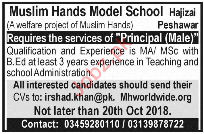 Muslim Hands Model School Peshawar KPK Job 2018 Principal