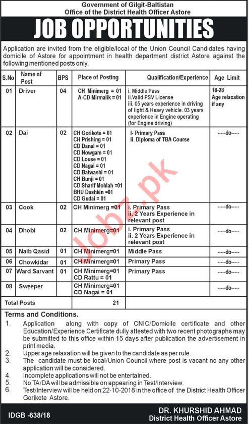 District Health Office Jobs 2018 in Astore Gilgit Baltistan