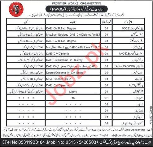 Pakistan Army FWO Frontier Works Organization Project Jobs