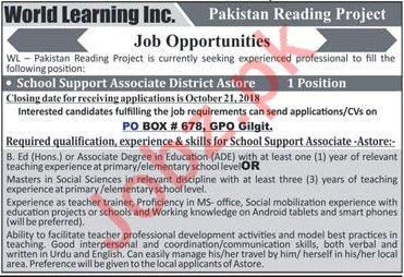 School Support Associate District Astore Job 2018